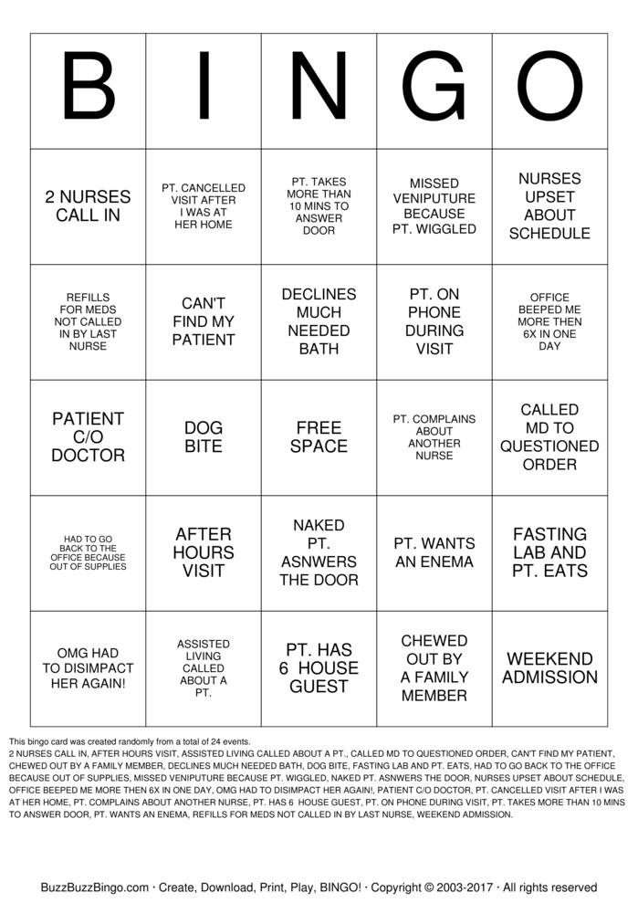 Nurse  Bingo Card