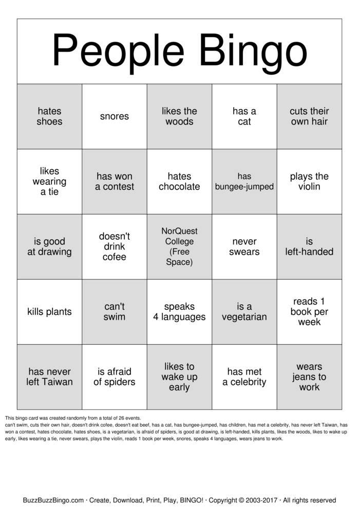 People Bingo Bingo Cards To Download Print And Customize