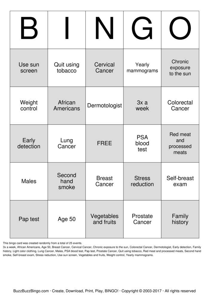 Download breast cancer Bingo Cards