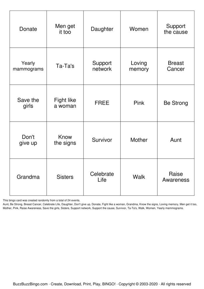 Download Free Breast Cancer Bingo Bingo Cards