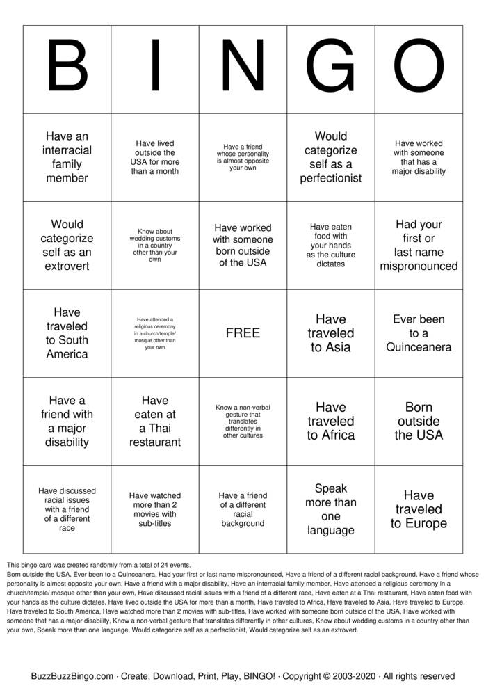 Download Free Cultural Diversity Bingo Cards