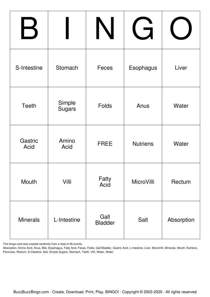 Download Free Digestive system Bingo Cards