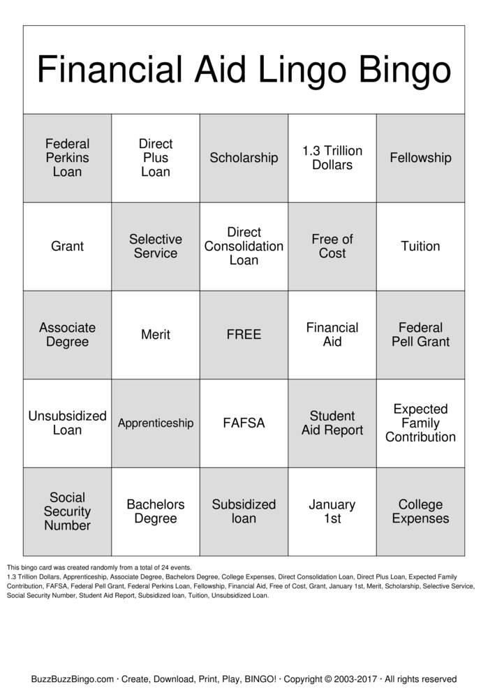 picture regarding Fafsa Printable identified as Money Assistance Lingo Bingo Playing cards in direction of Obtain, Print and