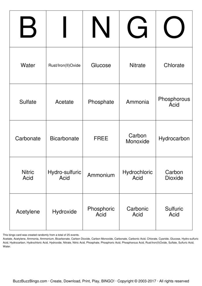 Scientific Elements Text Bingo Card