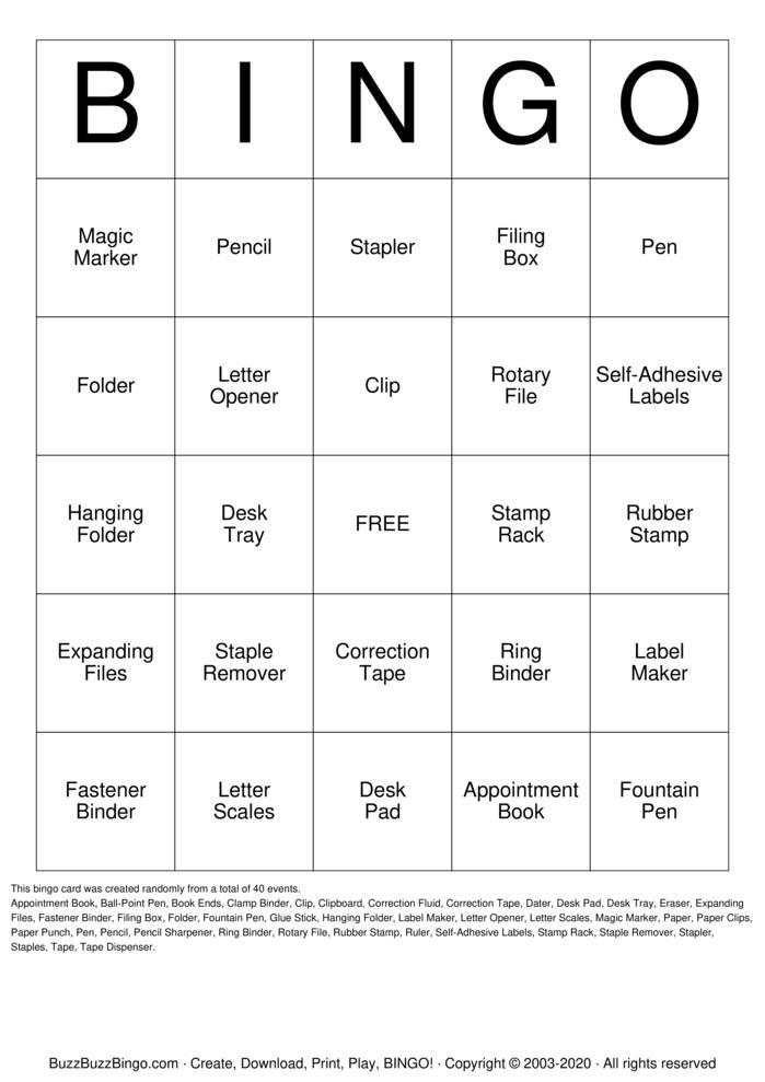 Stationery Bingo Card