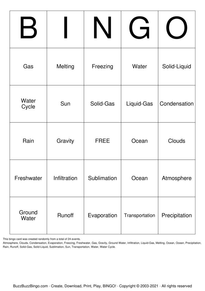 Download Free Water Cycle Bingo Cards