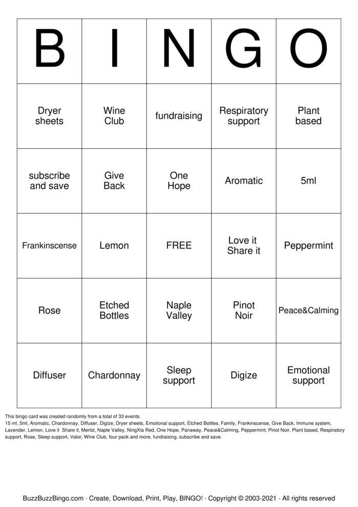 Download Free Young Living & One Hope Wine  Bingo Cards