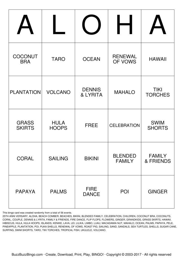 ALOHA Bingo Card