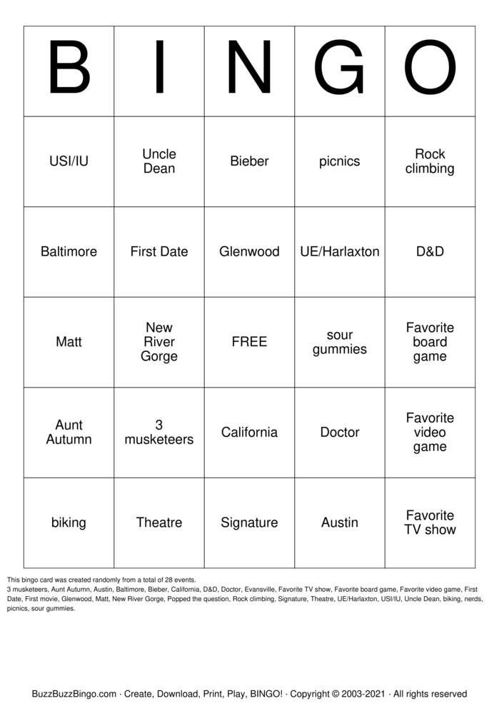 Download Free Congratulations Dean & Autumn Bingo Cards