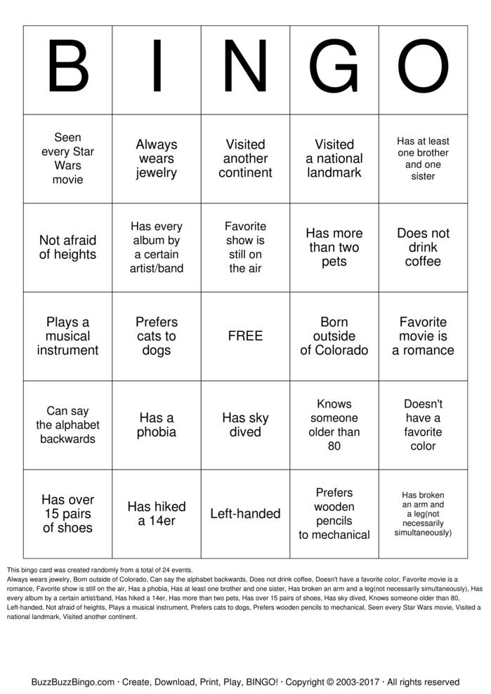 Get to know each other! Bingo Cards to Download, Print and