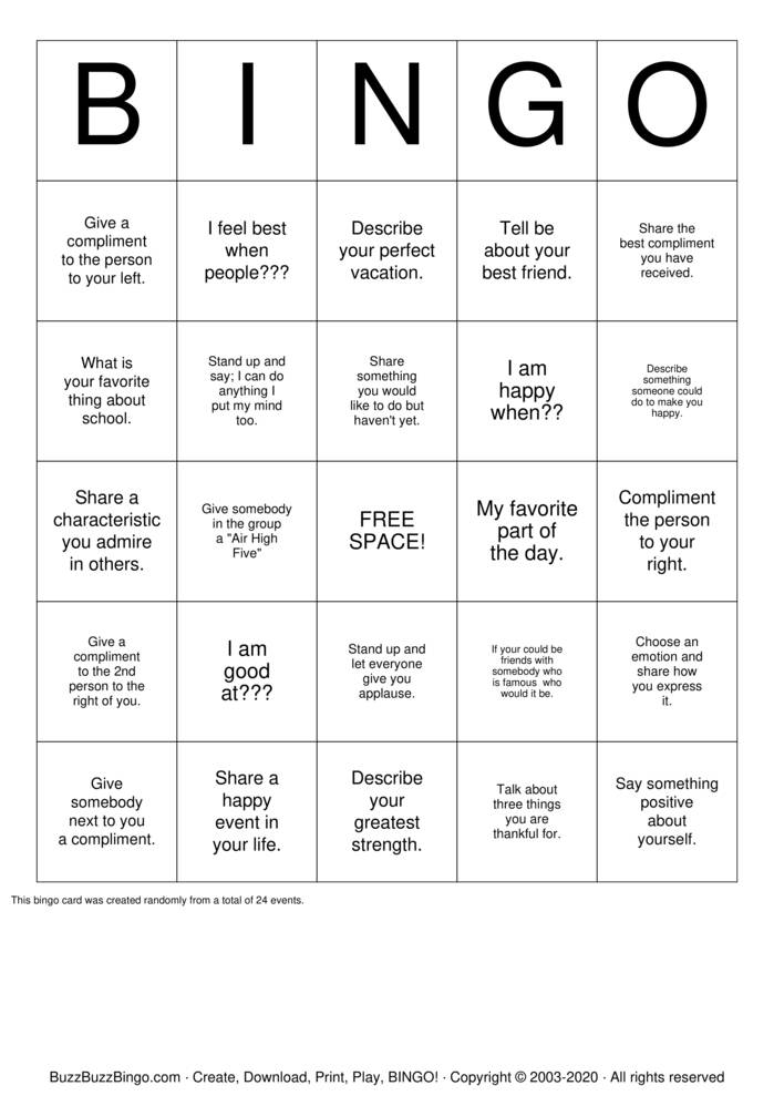 Download Free Self Esteem Bingo Cards