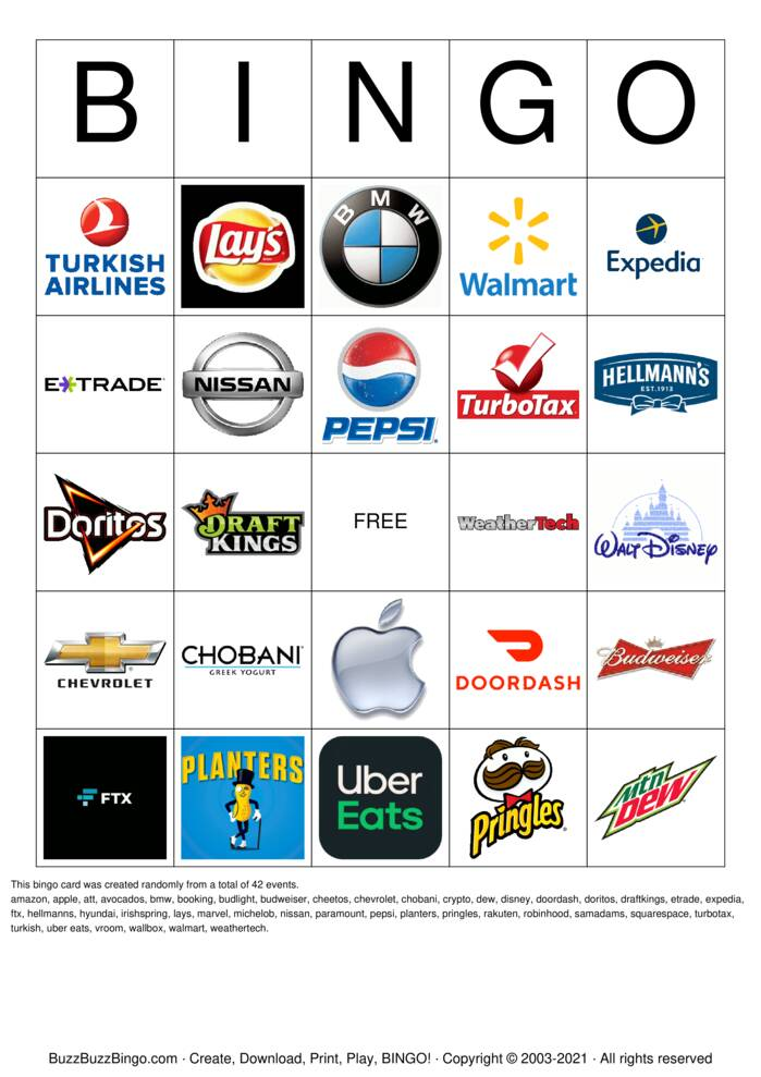 Download Free Superbowl Commercials Images Bingo Cards