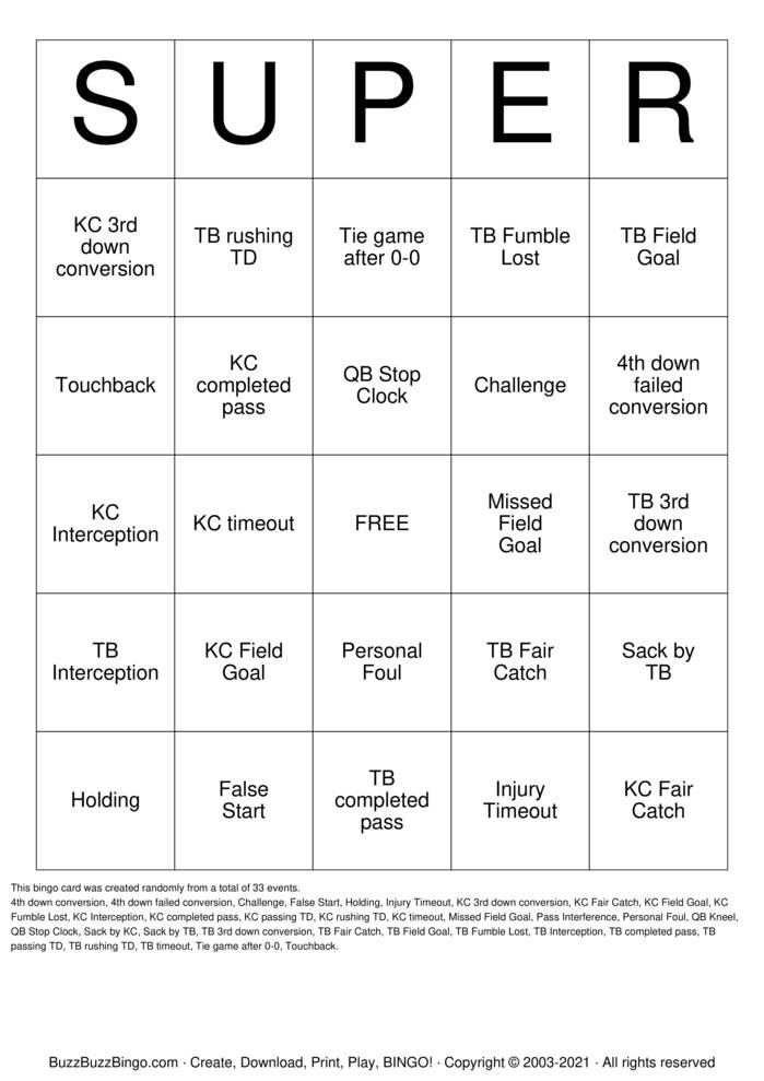 Download Free 2021 Superbowl Super Bingo Cards