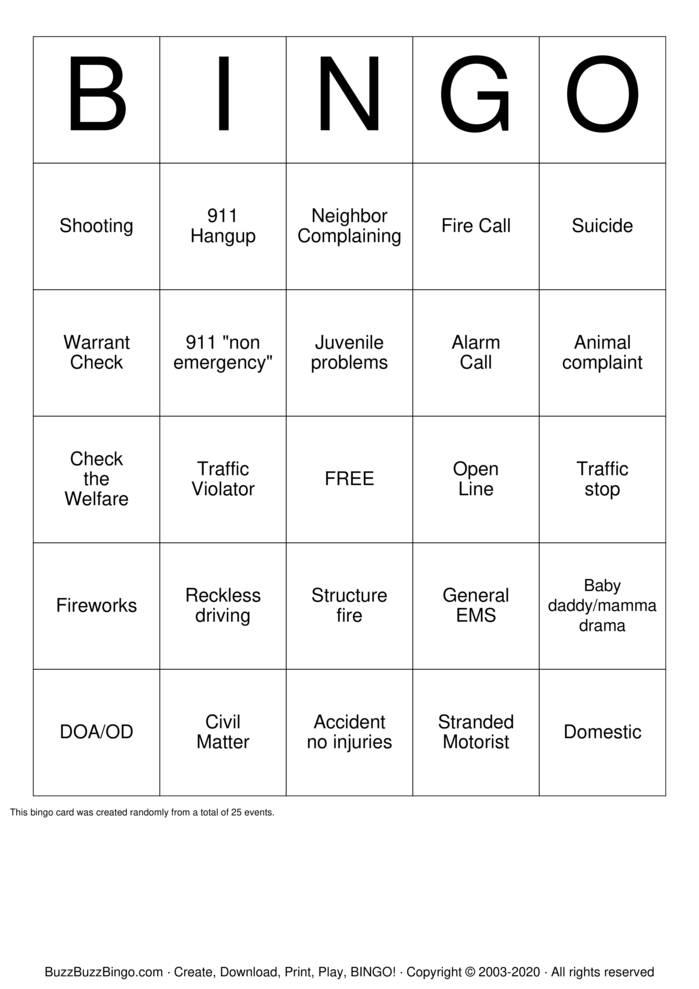 Download Free 911 Dispatcher Bingo Cards