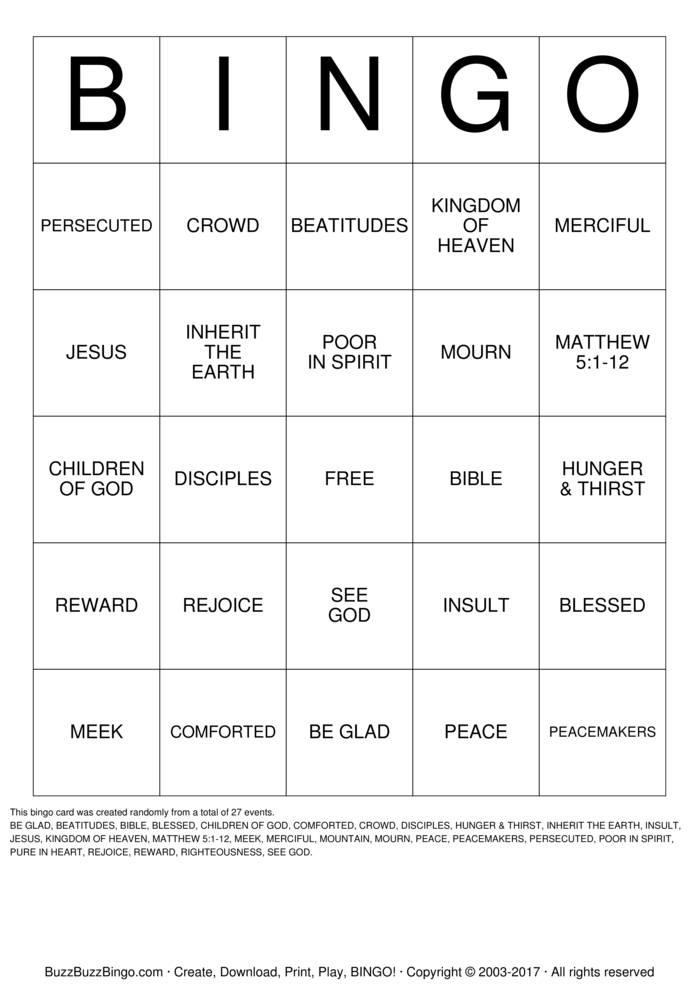 Download Free BEATITUDES Bingo Cards