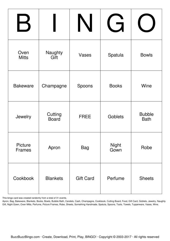 Download Free Bridal Shower Bingo Cards