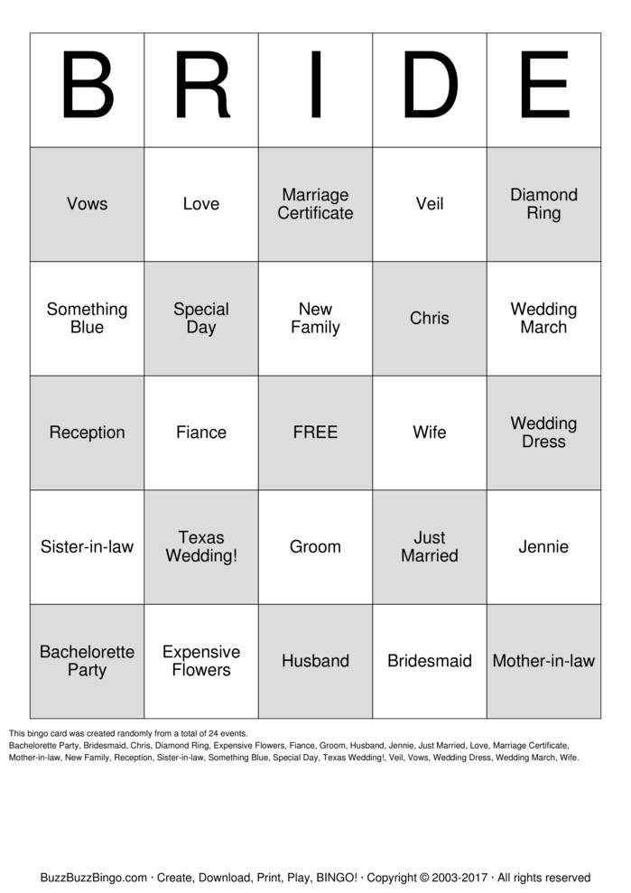 Download Bridal Shower Bingo Cards