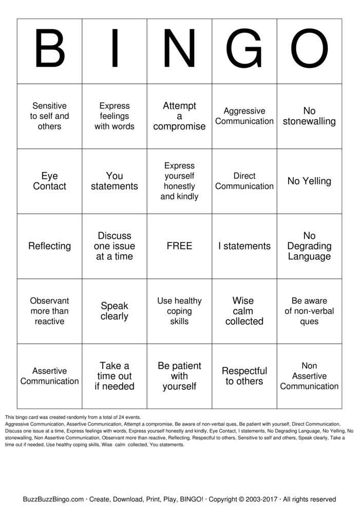 Download Free Communication Skills  Bingo Cards