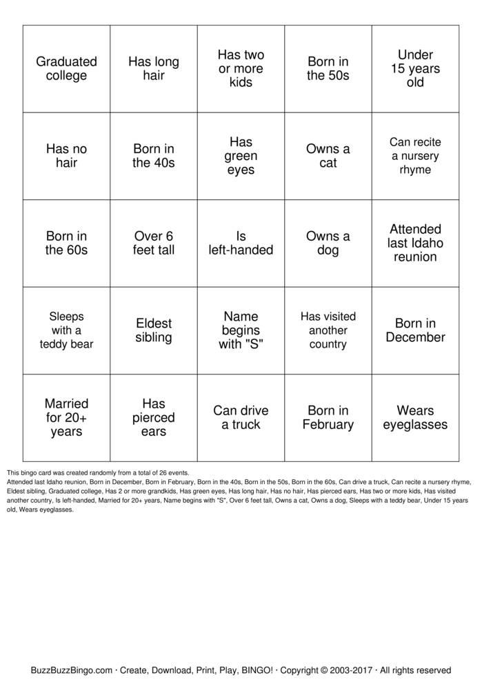 Download Free Herzinger Reunion Human BINGO Bingo Cards