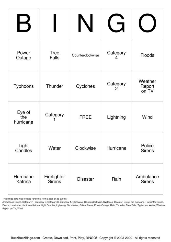 Download Free Hurricane Bingo Cards