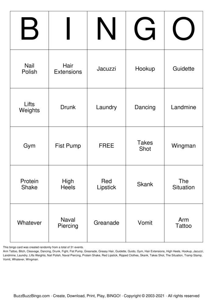 Download Free Jersey Shore Bingo Cards