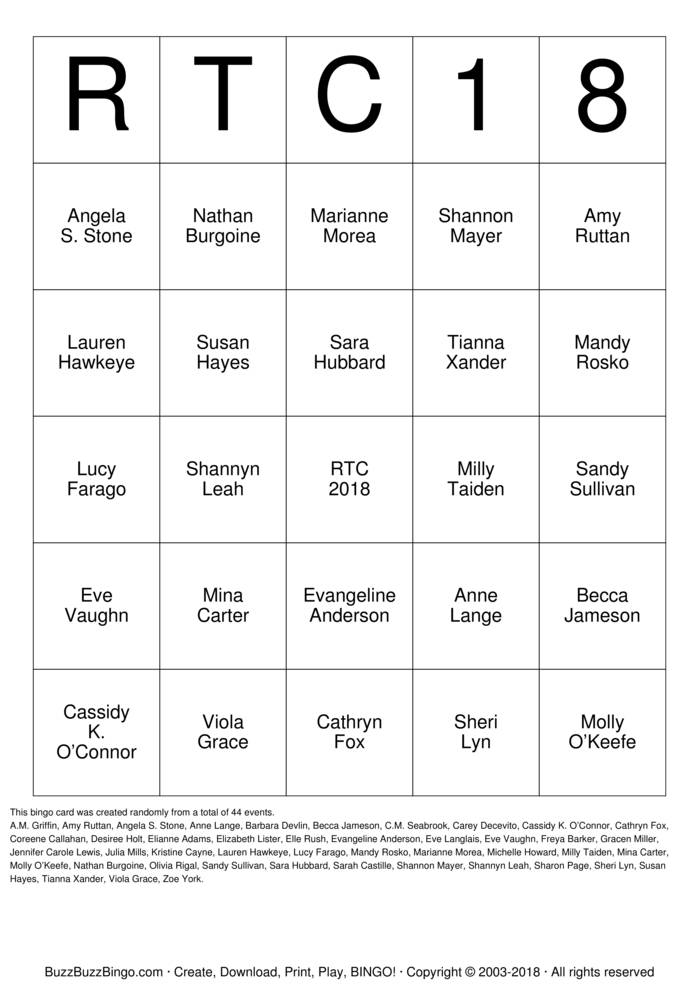RTC Author Bingo Bingo Card