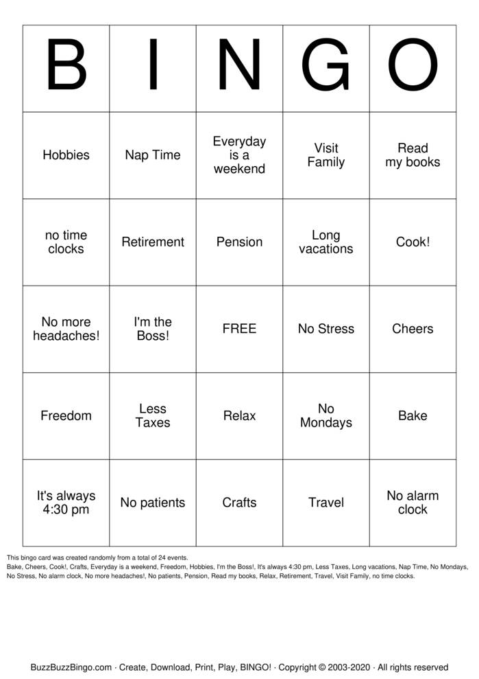 Download Free Retirement Bingo Cards