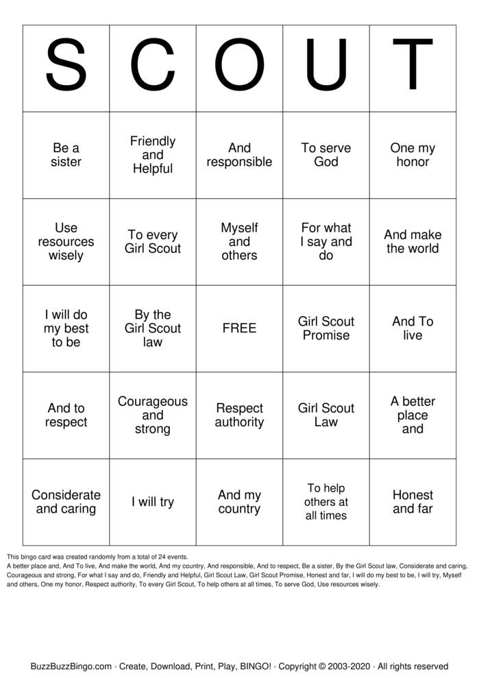 Download Free SCOUT Bingo Cards