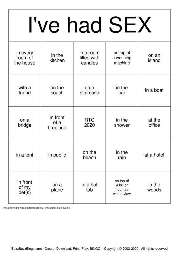 Download Free SEX BINGO Bingo Cards