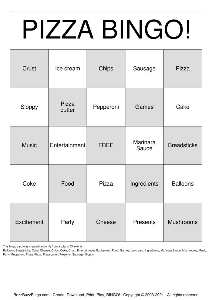 Download Free Captain Tony's Pizza Bingo Bingo Cards