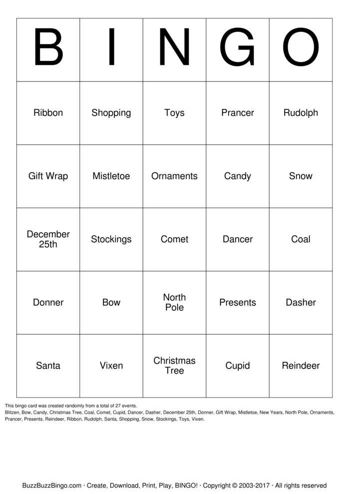 Download Free Christmas Bingo Cards