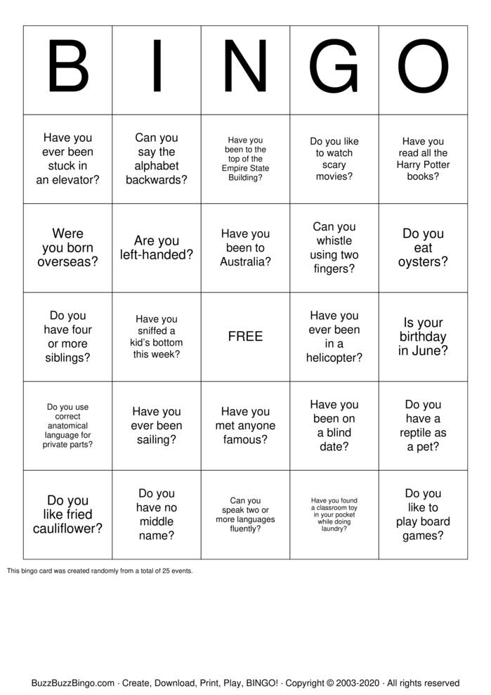 Download Free Human Scavenger Hunt Bingo Cards