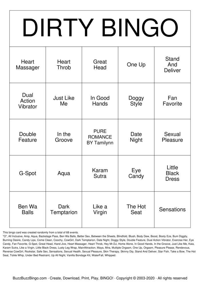 Download Free  PLEASURE PLEASE DIRTY BINGO Bingo Cards