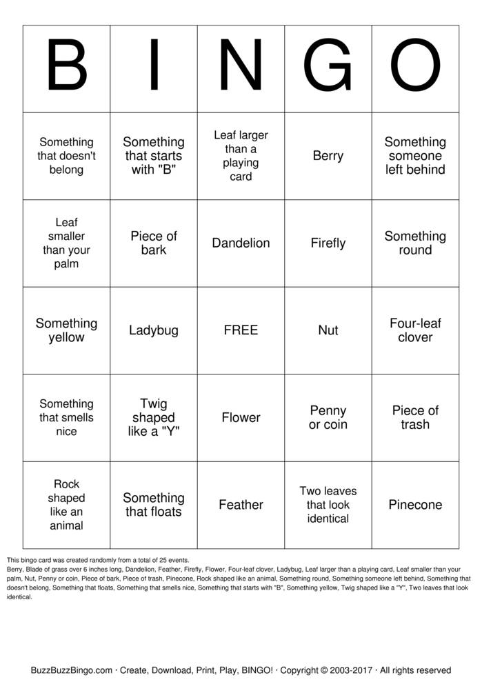 Download Park Scavenger Hunt Bingo Cards