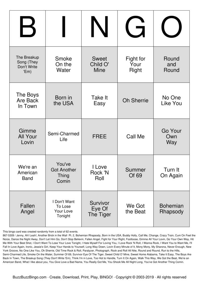 Download Free Rock 'N' Roll BINGO Bingo Cards