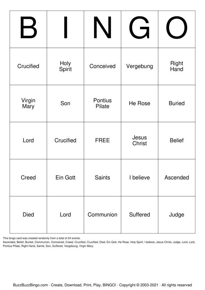 Download Free THE APOSTLES' CREED Bingo Cards