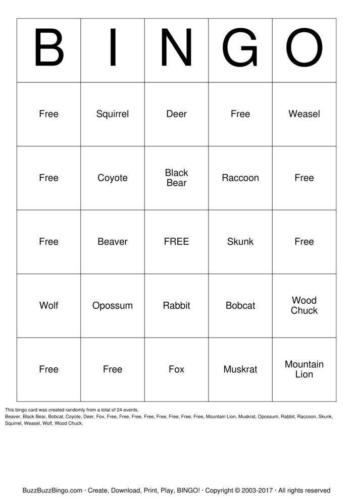 picture about Free Printable Animal Tracks titled Animal Observe Bingo Playing cards in direction of Down load, Print and Customise!