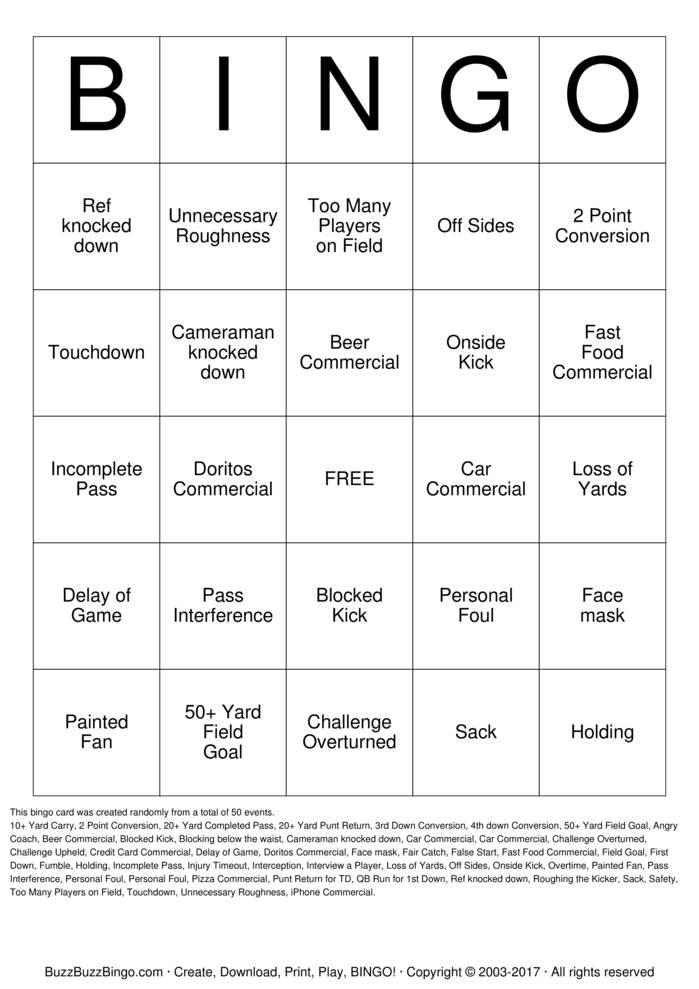 Download Free Bobby\'s Quarterback Bingo Bingo Cards