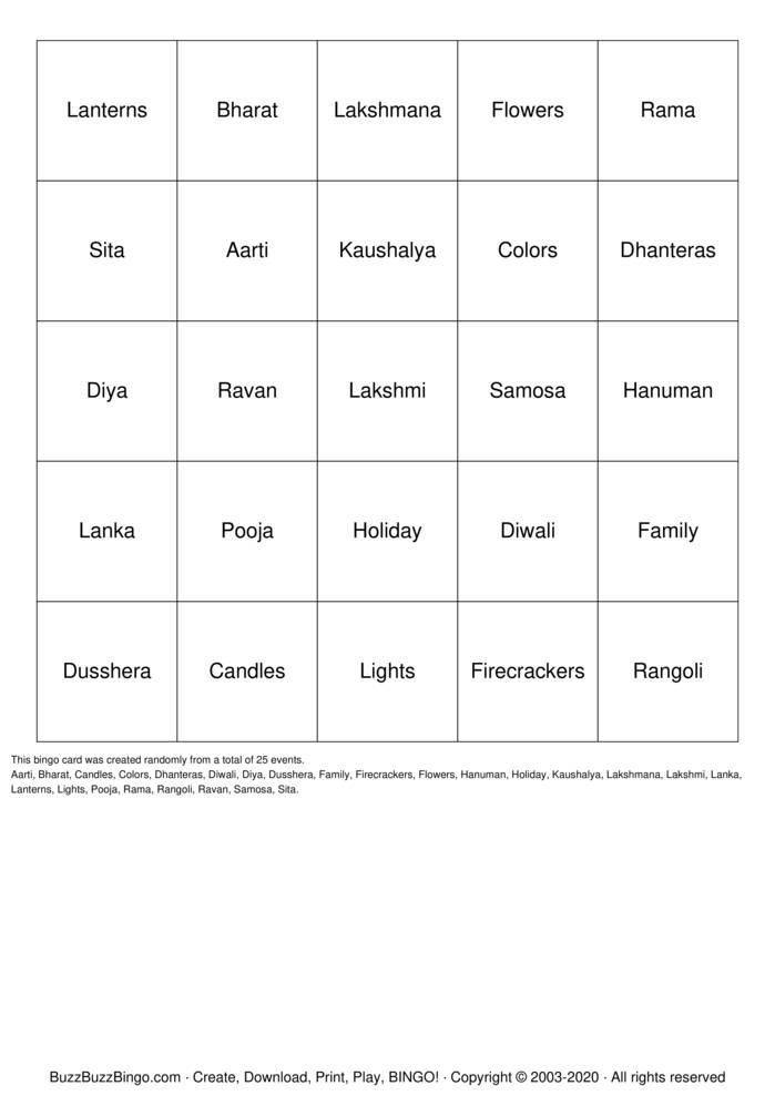 Download Free Diwali Bingo Bingo Cards