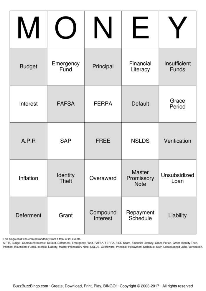 Download Free Financial Literacy Bingo Cards