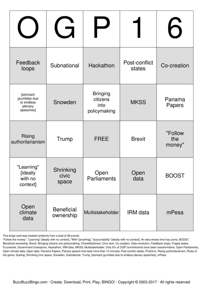 Download Free #OGP16 Plenary Bingo Bingo Cards