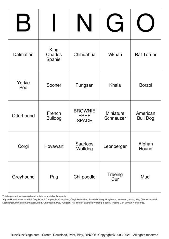 Download Free PET BINGO Bingo Cards