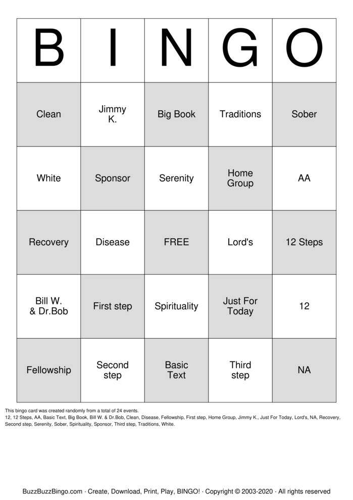 Download Free Recovery Bingo Bingo Cards