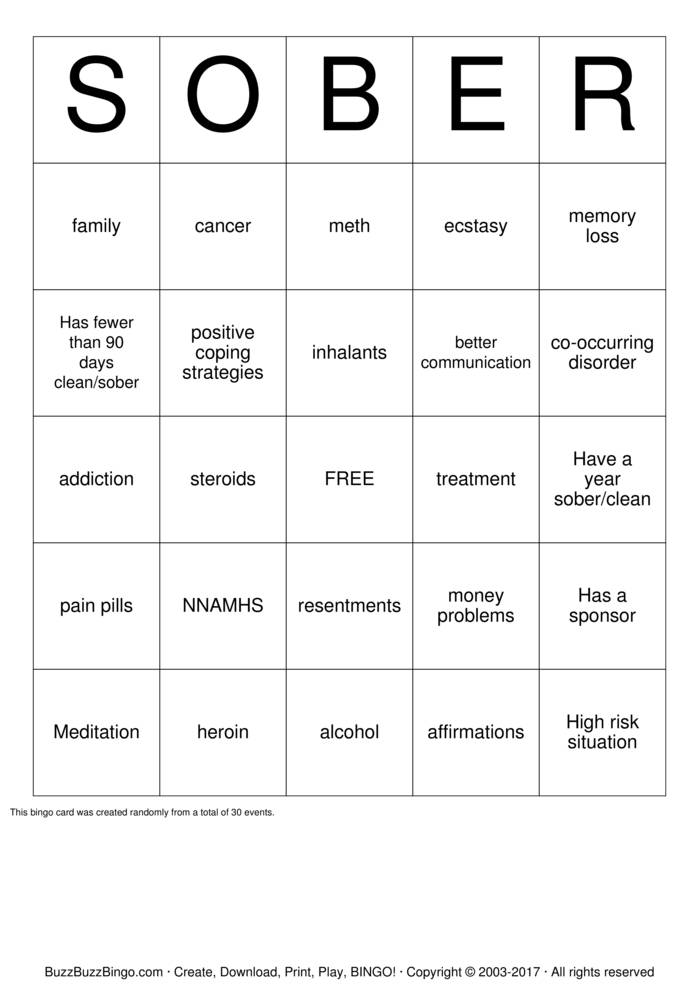 Download Free SOBER Bingo Cards