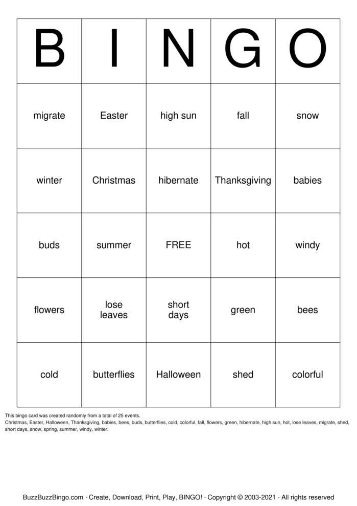 Download Free Seasons Bingo Cards