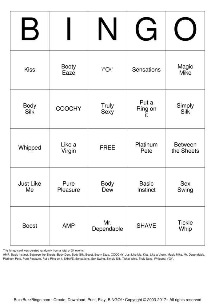 Download Free VIP-Pure Romance BINGO Bingo Cards