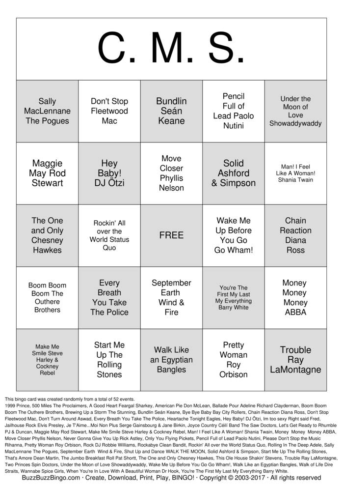 Download cms bingo Bingo Cards
