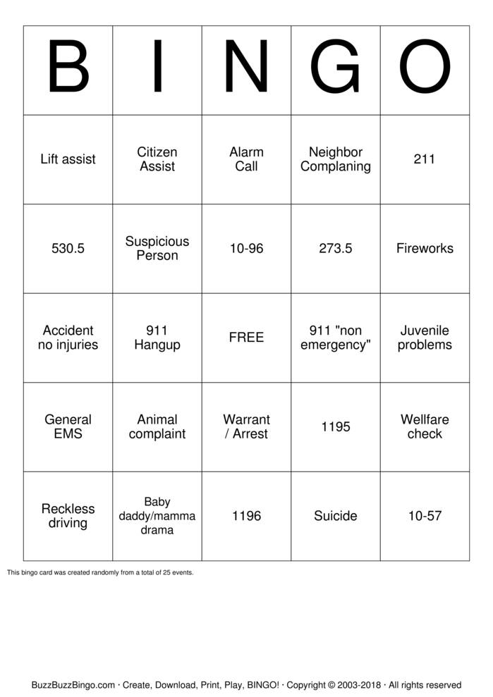 911 Dispatcher Appreciation Bingo Card