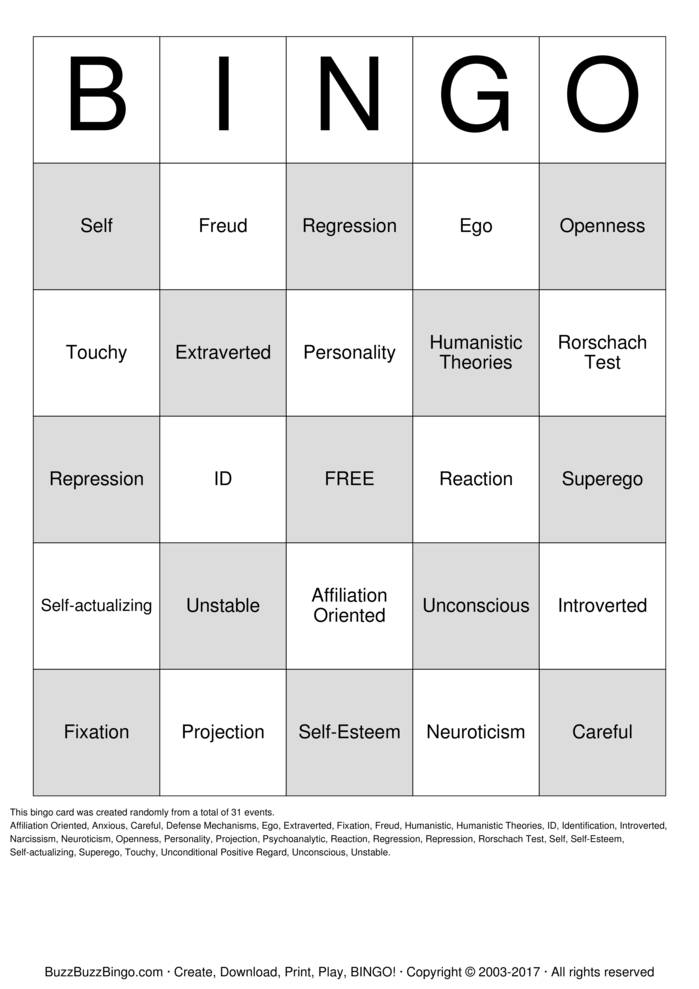 Defense Mechanisms Bingo Cards To Download Print And Customize