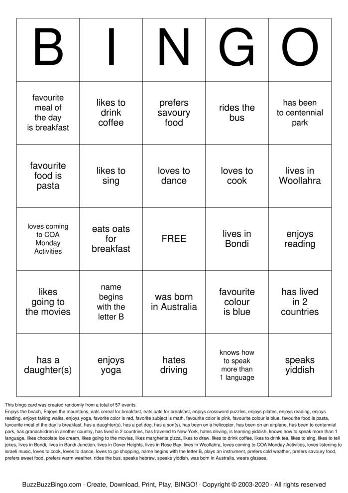Download Free HUMAN BINGO Bingo Cards